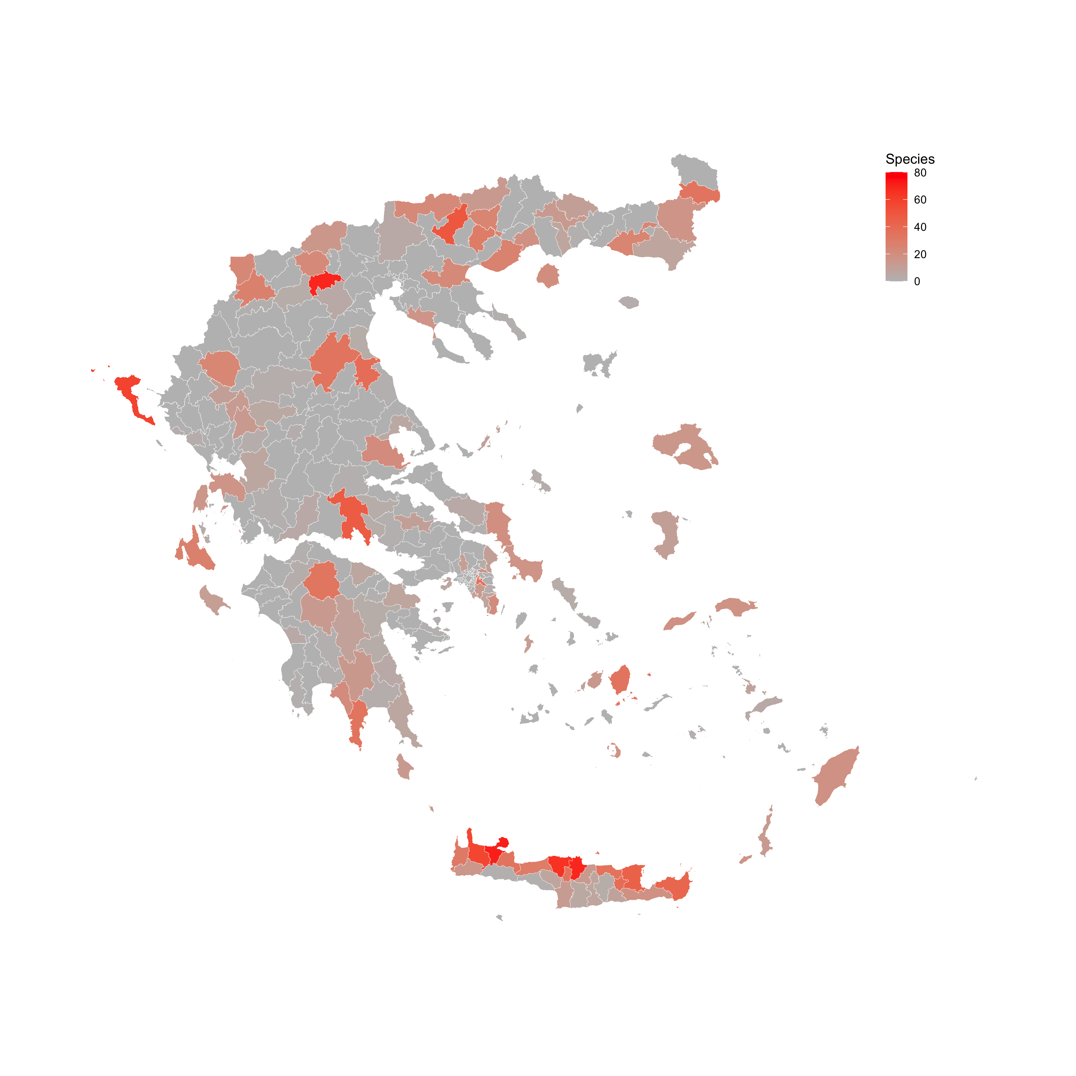 Species sampled per municipality in Greece