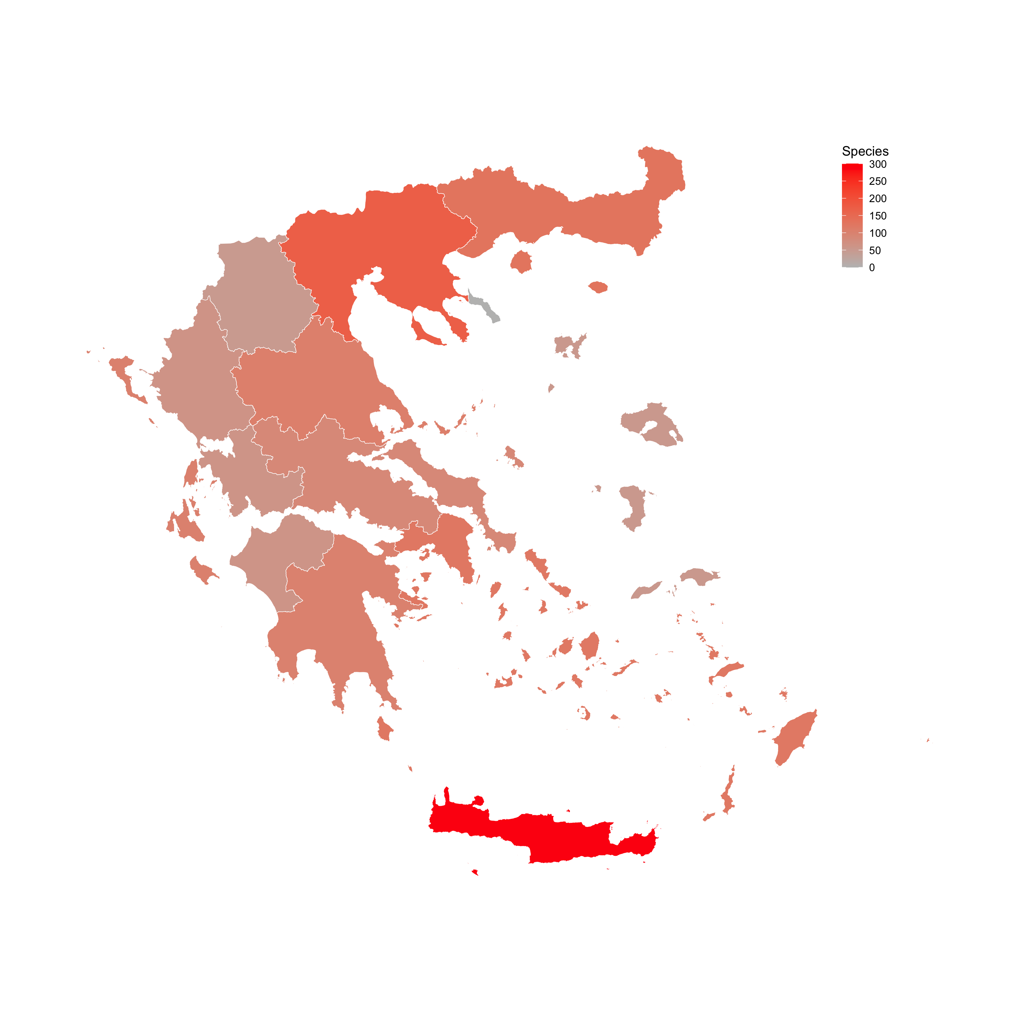 Cave fauna distribution in Greece.